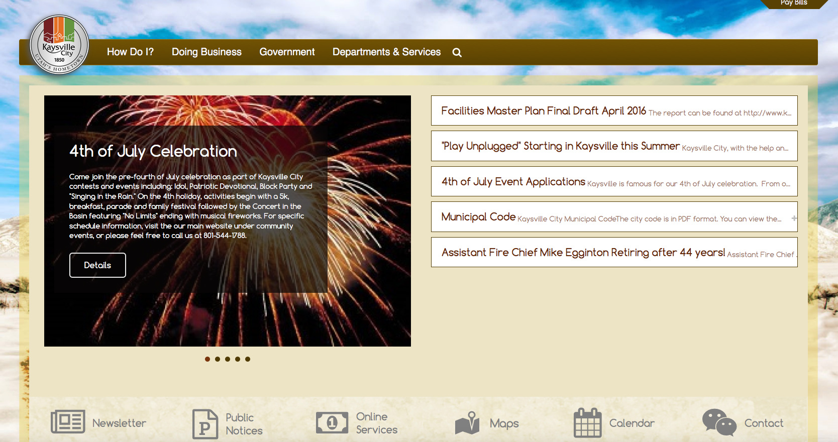 Screen Shot of Kaysville's Free Redesigned Website